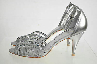 Bcbgirls Silver Leather Strappy Ankle Strap Peep Heel Shoes Size 7.5B