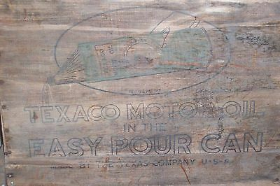 Vintage 1920's Texaco Oil Wood Shipping Box With Oil Can Illustrations