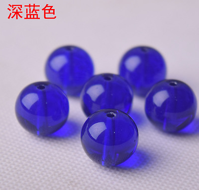 15pcs 12mm dark blue glossy glass beads crystal spacer beads