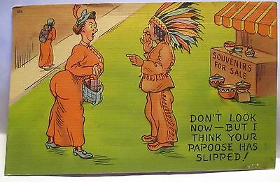 1940 Risque Postcard I Think Your Papoose Has Slipped Indian & Fat Girl Unused