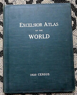 Antique Excelsior World Atlas-1921 Montgomery Ward Book- States & Big Texas Map