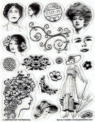 Hot Off The Press 1015 Hotp Clear Acrylic Stamp Set Vintage Ladies