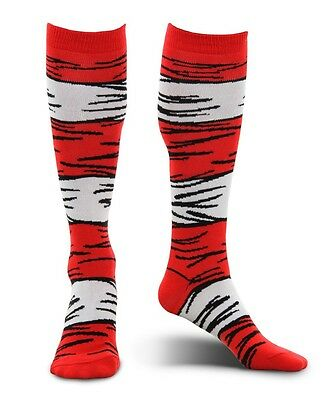 Dr Seuss Cat in the Hat Red & White Striped Adult Knee High Costume Socks Elope