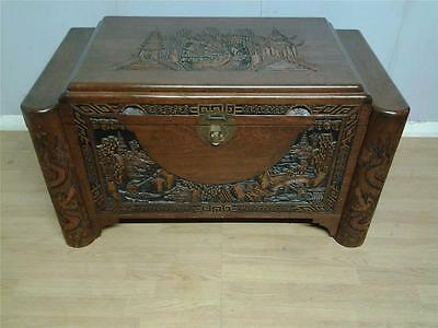 Vintage Oriental heavily carved camphor wood box blanket chest stepped top
