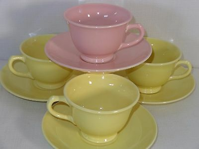 Vintage Luray LuRay Pastels China Yellow & Pink Cups & Saucers (4 Sets)