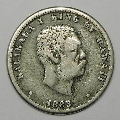 1883 Hawaiian Quarter Dollar. Fine/Very Fine.