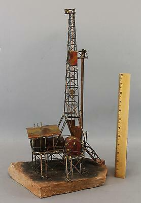 Vintage Handmade Wire Sculpture, Antique Early Oil Drilling Rig No Reserve!