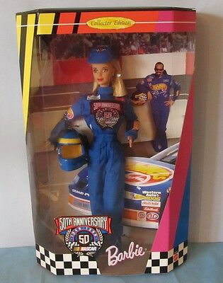 Never Removed From Box 1998 Nascar 50Th. Anniversary Barbie Doll