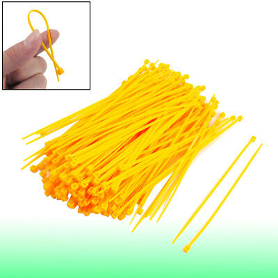 300 Pcs Adjustable Self Locking Nylon Cable Zip Ties Yellow 2.5mm x 150mm Feyhn