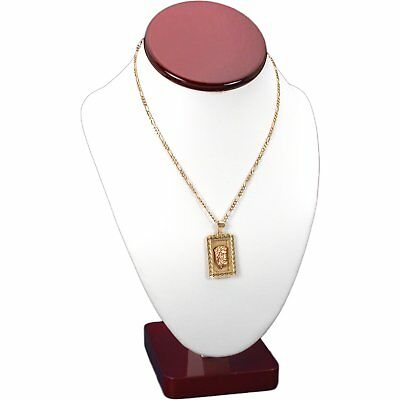 White Faux Leather Rosewood Trim Necklace Bust Display