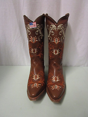 PRE OWNED Women's Abilene Cowgirl Boots w/ Embroidery Size 9 Brown (450)