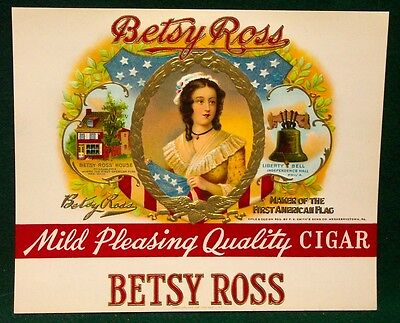 Vintage BETSY ROSS CIGAR BOX label, inner . OLD ORIGINAL LITHOGRAPH