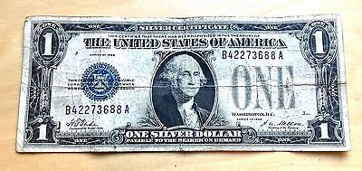 1928 B $1 Bill Silver Certificate Funny Back Blue Seal Paper Money - free ship