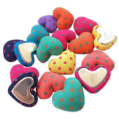 20pcs Spotty Polka Dot Heart Fabric Covered Embellishments Flatback Craft