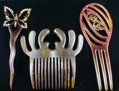 Lot  3 Large Art Deco Rhinestone & Molded Celluloid Hair Combs