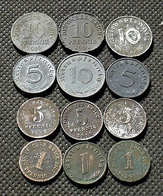 Lot Of Twelve Coins (German Empire - Weimar Republic - Nazi Germany) - Mix 1017