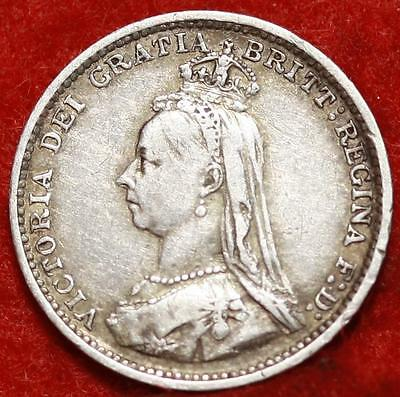 1889 Great Britain 3 Pence Silver Foreign Coin Free S/H