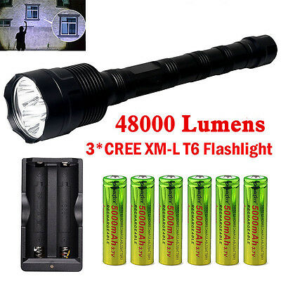 48000LM Police Tactical CREE XMK 3x T6 LED 5 Modes 18650 Flashlight Torch Lamp