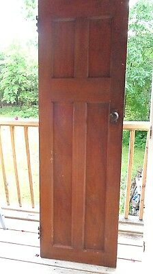 "4 Panel Wooden 1860's Door With Hardware 24"" Wide Approx. 78"" High"