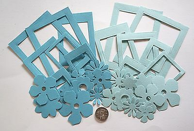 SCRAPBOOKING NO 453 - 14 PHOTO FRAMES and 20 PAPER FLOWERS IN BLUE SHADES