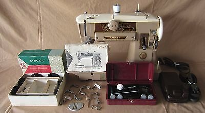 1958 Singer Slant-O-Matic 401A Heavy Duty Sewing Machine With Accessories Runs