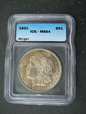 1921-P Morgan Silver Dollar Icg Ms 64 Over 96 Years Old U.s. History Nice Tone