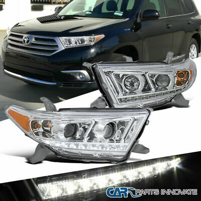 Fit 11-13 Toyota Highlander Clear SMD LED DRL Projector Headlights Head Lamps