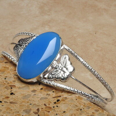 """Natural Blue Chalcedony Gemstone 8""""~10"""" Cuff Bracelet 925 Sterling Silver Plated"""