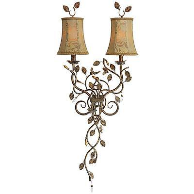 Brass Crystal Vine Mirror Wall Sconce