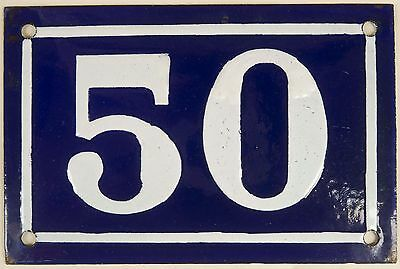 Old blue French house number 50 door gate plate plaque enamel steel sign c1950