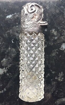 1899 silver top hobnail studded glass scent/perfume bottle M BROS