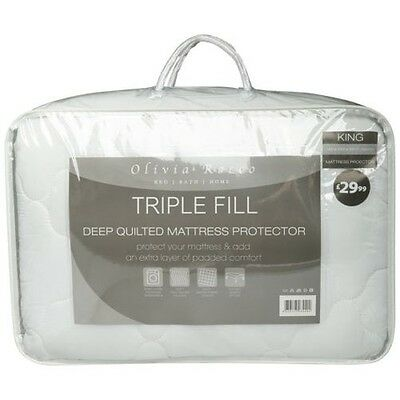 Triple Fill Quilted Mattress Topper Protector, Single Double King Size