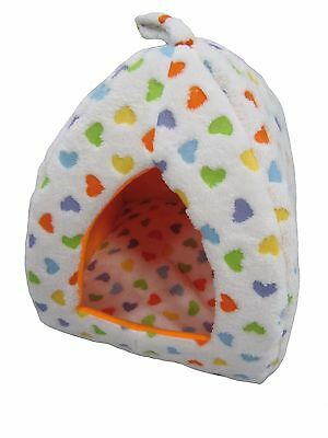 Orange Hearts Cat Dog Animal Thermal Igloo Pet Hut Basket Warm Cosy Soft Fleece