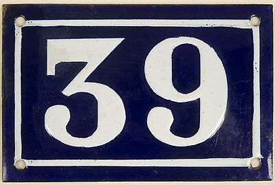 Old blue French house number 39 door gate plate plaque enamel steel sign c1950