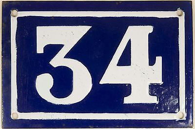 Old blue French house number 34 door gate plate plaque enamel steel sign c1950