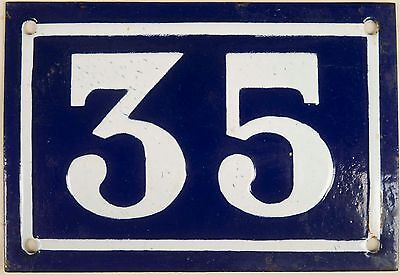 Old blue French house number 35 door gate plate plaque enamel steel sign c1950