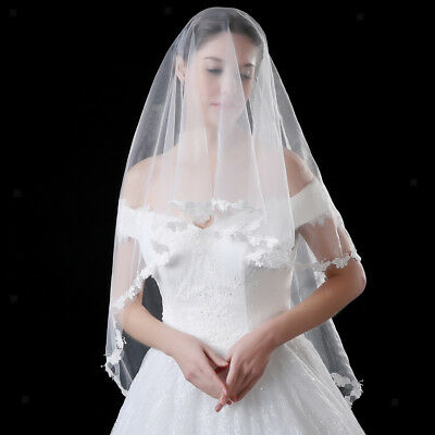 Wedding Bridal Single Layer Veil Lace Flower Butterfly Edge Ivory 1.5m