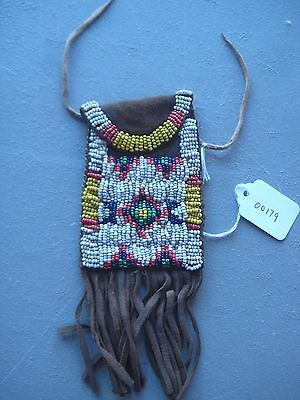 Native American Beaded  Medicine Pouch, North American Beaded Bag, #co-00179