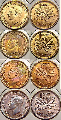 1938 1940 1943 1945 UNC CANADA Small Cent / Penny 4 Coin Lot George VI UNC N/R