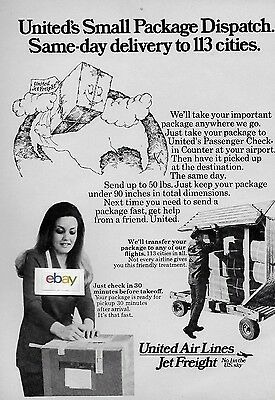 United Airlines 1973 Jet Freight No#1 In The Us Sky Small Package 113 Cities Ad