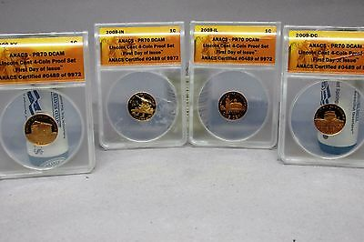 2009 Lincoln Cent 4 Coin Set Proof ANACS PR70 First Day Issue