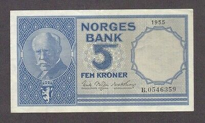 1955 5 Kroner Norway Currency Banknote Note Money Bill Cash Norges Bank Rare