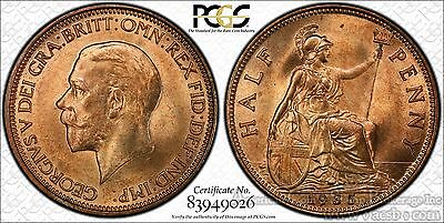Great Britain 1/2d Half Penny 1935 MS65 RD PCGS bronze KM#837 George V RED