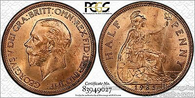 Great Britain 1/2d Half Penny 1935 MS64 RD PCGS bronze KM#837 George V RED