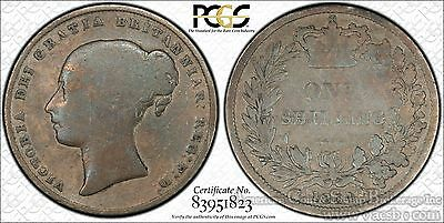 Great Britain 1 Shilling 1854 G6 PCGS silver KM#734.1 Colorful Grey KEY DATE