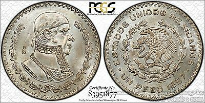 Mexico 1 Peso 1957 Mo MS65 PCGS silver KM#459 1st Year Champagne White