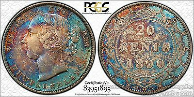 Newfoundland 20c Cent 1890 EF40 PCGS silver KM#4 Victoria XF Colorful Example