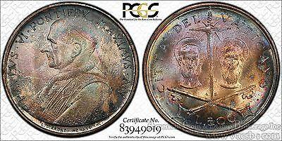 Vatican City 500 Lire 1967 MS67 PCGS silver KM#99 Peter & Paul RAINBOW