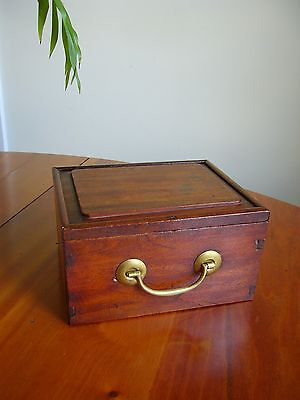 An Antique Wooden Box With Sliding Lid - Oriental Script On Base - Chinese?