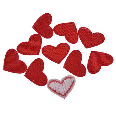 10 Pcs Embroidery Love Red Heart Sew Iron On Patch Badge Applique DIY Bag Decor